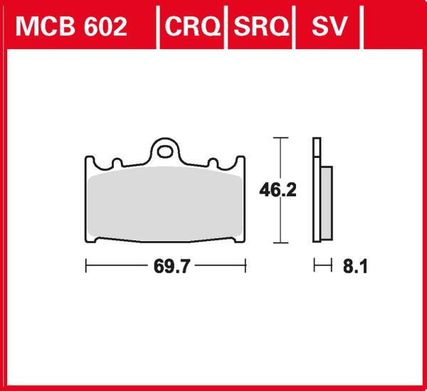 Bremsbelag TRW MCB602CRQ Hyper Carbon Rennsportbelag