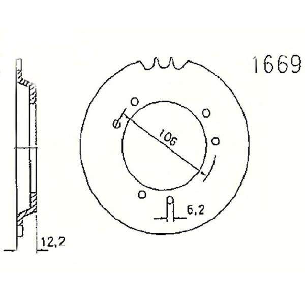 Kettenrad 20-1669-45 STAHL #415 6-Lochaufnahme (3x2)
