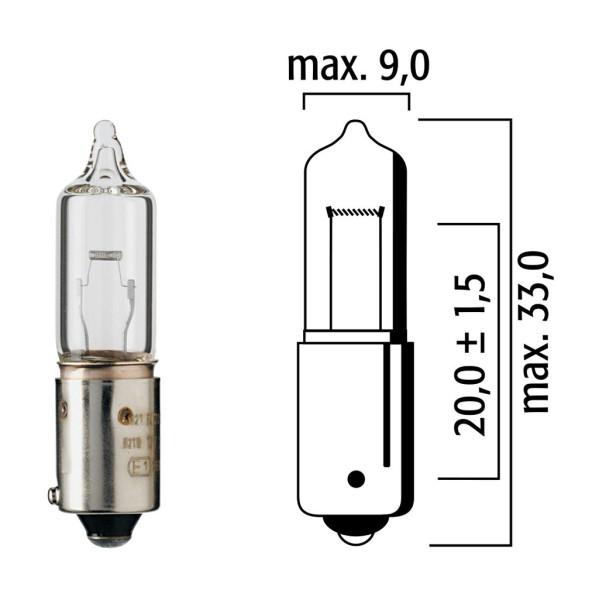 Lampe Flösser 12V 21W BAY9s klar Halogen versetze Pins