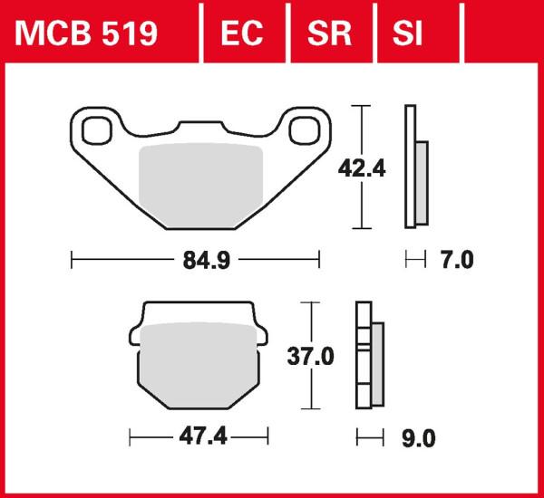 Bremsbelag TRW MCB519 organischer Allround-Bremsbelag