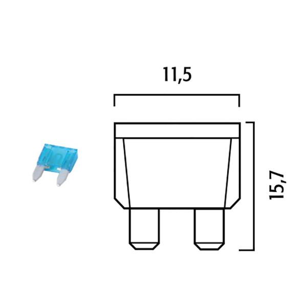 Sicherung 15AH Flachsicherung Klein Farbe: Hellblau 10er Box