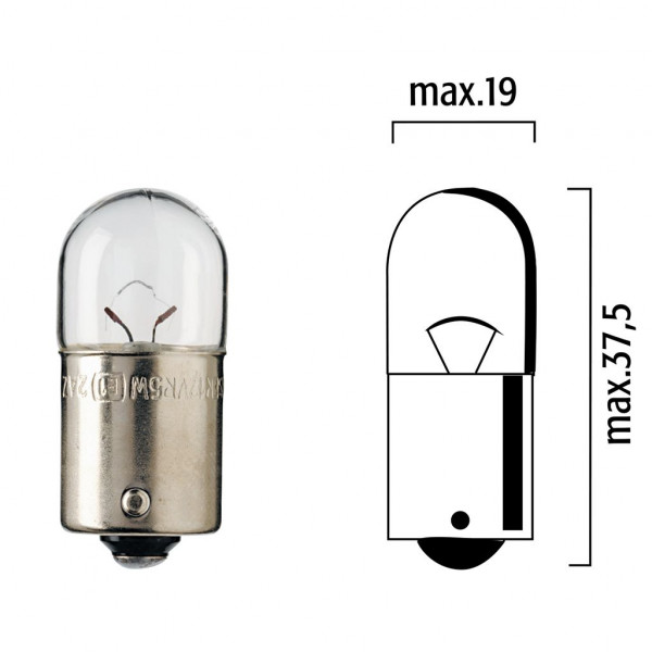 Lampen Flösser 12V 5W BA15s klar Kugelbirne - 10er Box
