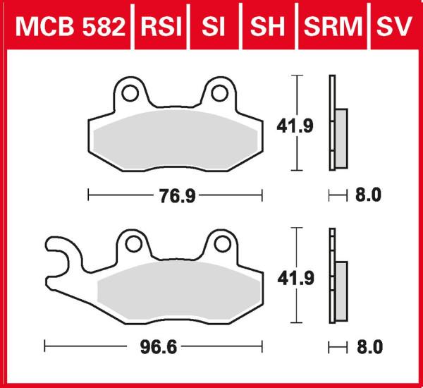 Bremsbelag TRW MCB582EC organisch für Roller, Scooter, Offroad