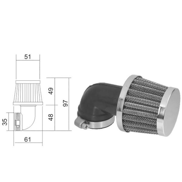 Luftfilter Sport 35mm 90°