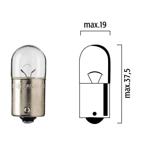 Lampen MotoLibre 12V 5W BA15s rot Kugelbirne - 10er Box