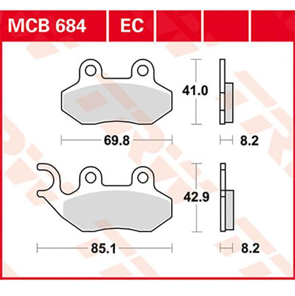 Bremsbelag TRW MCB684EC organisch für Roller, Scooter, Offroad