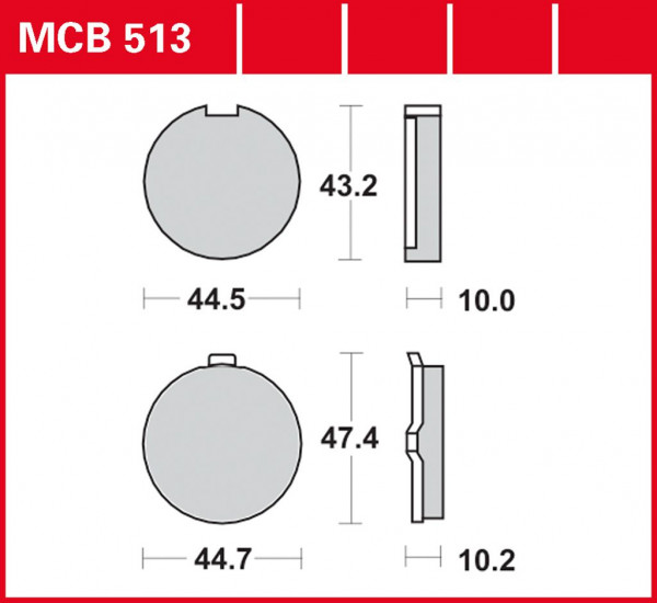 Bremsbelag TRW MCB513 organischer Allround-Bremsbelag