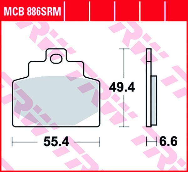 Bremsbelag TRW MCB886SRM Sinter Scooter Belag