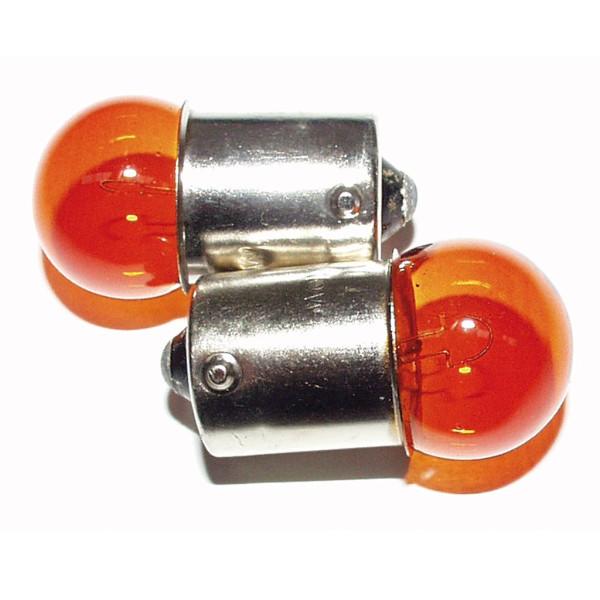 Lampen MotoLibre 12V 10W BA15s gelb Kugelbirne Pins gegenüber 10er Box