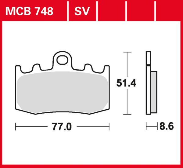 Bremsbelag TRW MCB748SV Sinter Street Hochleistungsbelag