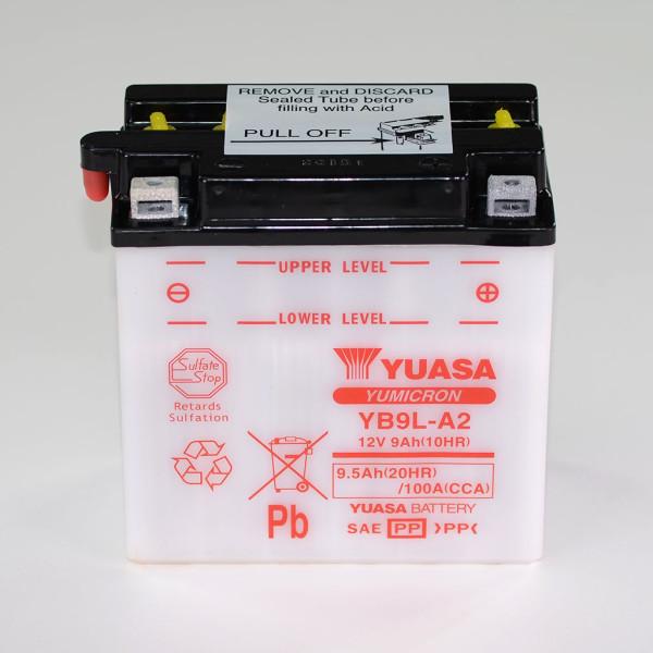 Batterie 12V 9AH YB9L-A2 Blei-Säure Yuasa 50916 ohne Säurepack